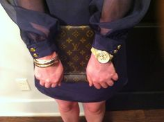 leona navy dress  forever 21 bracelets  michael kors horn watch  louis vuitton vintage clutch    www.acupoflindsayjo.com