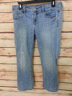 American Eagle Outfitters Jeans Vintage Flare stretch womens size 8 distressed #AmericanEagleOutfitters #Flare