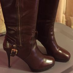 Nine West Knee-High Skinny Stiletto Leather Boots Dark brown leather. Platform approx. 3/4 inch & heel approx. 4 1/2 inches. In excellent condition only worn a couple of times. Very sexy... Nine West Shoes Heeled Boots