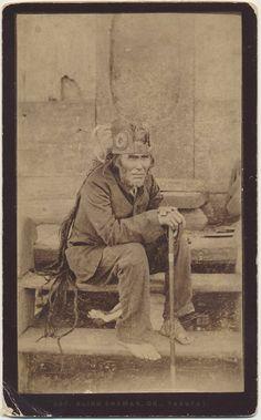 "Blind Shaman Yakutat Native American cabinet card circa 1885 photographer Edward DeGoff Alaska Crow Creek Unique on Etsy  Titled ""337 BLIND SHAMAN , DR. YAKUTAT"" on bottom of card"