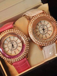 Sweet Candy Color Leather Strap Rhinestone Casual Watch at $25.99  http://www.pinterest.com/BBOescape/watches/