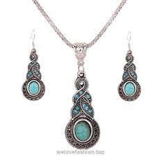1 X Fashion Womens Retro Turquoise Rhinestone Earrings Necklace Jewelry Set  BUY NOW     $3.78    Descriptions: Conditions: New and High Quality Main Stone: Turquoise Style: Necklace & Ear Drops Metal: Tibetan Silver Main Color: Silver + Green Package Includes: 1 x ..