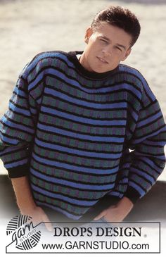 DROPS jumper with pattern borders in Alaska. Ladies and Men's size S – L. Free pattern by DROPS Design. Knitting Patterns Free, Free Knitting, Free Pattern, Crochet Patterns, Drops Design, Alaska, Magazine Drops, Mens Jumpers, Vintage Knitting
