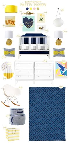 Pretty Preppy - polished navy & yellow nursery.