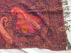 BOILED WOOL SHAWL PAISLEY HAND EMBROIDERY DESIGN JAMAWAR CASHMERE THROW BED 3987
