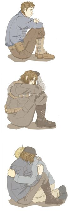 Steve and Bucky   Bucky Barnes and Winter Soldier both have their demons, but Steve will always be there to keep them at bay if he can.