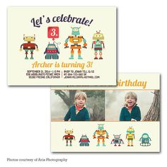Robot 5x7 birthday Invitation Digital Party by PrintFrameHang, $7.00