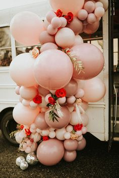 Playful pink and red elopement inspiration with a balloon garland in shades of pink. Photo: @abigailreneephotography Planning Your Day, Wedding Balloons, Custom Ties, Elopement Inspiration, Balloon Garland, Best Wedding Photographers, Wild Hearts, Something Beautiful, Engagement Shoots