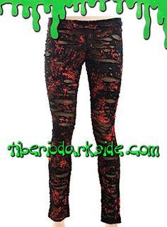 BLOOD RIPPED LEGGINGS  Leggings punk de malla negra con salpicaduras rojas, agujeros y media debajo. Cinturilla elástica. Marca: Punk Rave.  COLOR: NEGRO/ROJO TALLAS: S, M, L, XL, XXL  S - 62 a 68 cm cintura, 83 a 87 cm cadera (talla 36) M - 69 a 72 cm cintura, 88 a 92 cm cadera (talla 38) L - 73 a 77 cm cintura, 93 a 97 cm cadera (talla 40) XL - 78 a 82 cm cintura, 98 a 102 cm cadera (talla 42) XXL - 83 a 87 cm cintura, 103 a 109 cm cadera (talla 44)