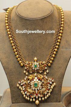 Antique Gold Balls Haram with Polki Pendant