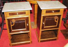For sale, Bedside table, Art Nouveau, walnut, 1890 - 1900, 78 cm x 43 cm x 34 cm (h x w x d)  Noční stolky, secese, ořech 1890 - 1900, 78 cm x 43 cm x 34 cm (v x š x  h), www.stodola.cz Bedside Tables, Wall Oven, Antique Furniture, Coffee Tables, Kitchen Appliances, Antiques, Home, Nightstands And Bedside Tables, Diy Kitchen Appliances