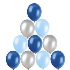 28 Silver Baby Royal Blue Helium Balloons Christening Birthday Party Decorations | eBay