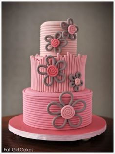 Love this cake! Beautiful Quilled Flower cake from Fat Girl Cakes, featured on Baked! Pretty Cakes, Cute Cakes, Beautiful Cakes, Amazing Cakes, Cake Blog, Birthday Cake Girls, Birthday Cakes, Birthday Cake For Women Simple, Women Birthday