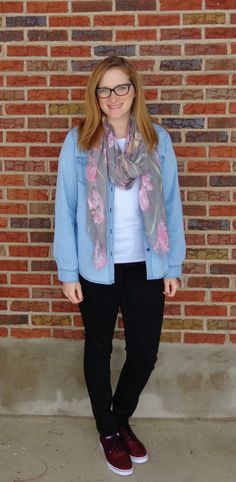 chambray, white tee, floral scarf, black pants, colorful shoes