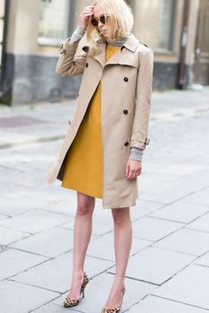 mustard yellow dress and khaki trench with leopard shoes