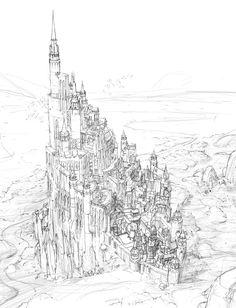 castle sketch of a fantasy world - Hyunwook Chun Concept Art Fantasy City, Fantasy Castle, Fantasy Places, Fantasy Map, Fantasy Artwork, Fantasy World, Environment Sketch, Environment Design, Fantasy Landscape