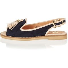 River Island Navy peep toe slingback sandals ($56) ❤ liked on Polyvore featuring shoes, sandals, flat shoes, navy, shoes / boots, women, open toe sandals, navy blue shoes, peep toe slingback flats and sling back flats