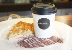 take away coffee and almond cake