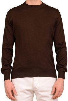 BRUNELLO CUCINELLI Brown Cashmere Silk Crewneck Ribbed Sweater NEW