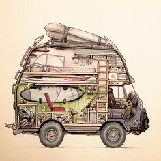 Illustration by @alortizjr #vanlifers #1000contemporarynomads #digitalnomad #nomadlife #nomad #wanderlust #wanderer #liveauthentic #livefolk #exploremore #neverstopexploring #letsgosomewhere #intothewild #achadosdasemana #vscobrasil #campervan...