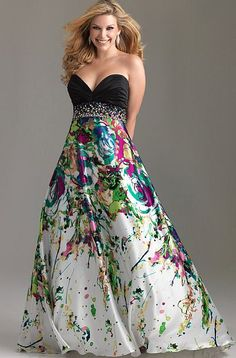 Night Moves Plus Sized Strapless Print Prom Dress 6512W at frenchnovelty.com