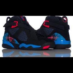 Jordan 8.0 (BRAND NEW)❗️size 6.5 Jordan 8 size 6.5 (GS) Black/Neptune Blue/Siren Red with suede finish! Brand New with original box Jordan Shoes Sneakers