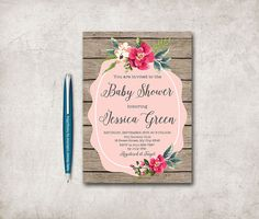 Rustic Baby Shower Invitation Printable Digital by tranquillina