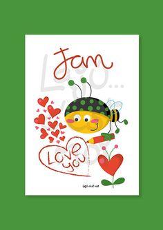 Happy bee writing I love you nursery wall por Lajucestmoi en Etsy