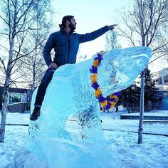 Some days on campus are epic... Like the day our Regional Director @lazorflash mounted a polar bear ice sculpture at UofA Fairbanks to talk to students about studying abroad! #weloveourjob #isaabroad #studyabroad #theworldawaits #universityofalaskafairbanks by isaabroad