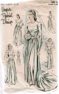Vogue S-4532 this was my grandmas wedding gown & i used her pattern to sew this gown for my older sisters wedding. Now my daughters are wanting this for their special day! New tradition?