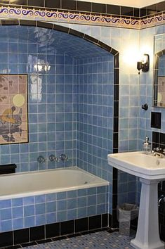 Cheviot Hills bath with original blue terra cotta tile. Accent tile trim. Shared by misscandydarling