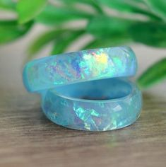 Trendy Luxury Jewelry : Blue opal ring for women wedding promise bohemian unique rings resin statement cute unusual big size holographic eco jewelry Simple Wedding Bands, Wedding Rings For Women, Diamond Wedding Bands, Trendy Wedding, Resin Ring, Resin Jewelry, Fine Jewelry, Jewelry Rings, Metal Ring