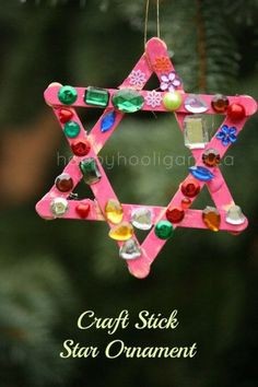 Craft Stick Star Ornament - Happy Hooliagns