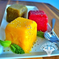 Fruit Sorbet Cubes with Chia Seeds - Ingredients: Mango, Raspberries & watermelon, Kiwi, organic honey, 1 tbsp chia seeds. #Recipe: (1) In a blender, add fruit and 1 tsp to 1 tbsp organic raw honey. (2) Add the fruit to an oversized ice tray. (3) Freeze for at least 4 hours. (4) Enjoy! Macros will vary depending on how much fruit is used. For my sorbet, I used 1 mango, 1/4 cup raspberries, 1/4 cup watermelon slices, 2 kiwis, 1 tbsp honey (total). | fitmencook.com