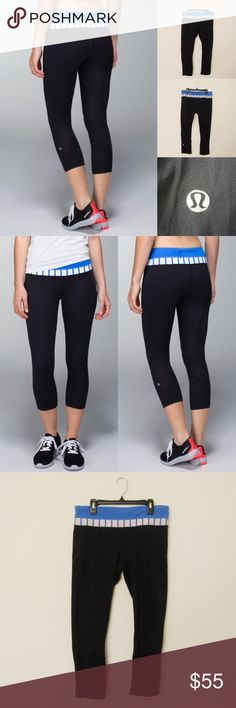 """Lululemon Run: Inspire Crop II LULULEMON ATHLETICA Run: Inspire Crop II in black/pipe dream blue/deauville stripe. Size 8. Great condition. Worn 2-3 times.  Materials: Full On Luxtreme/Mesh Features: Continuous drawcord/behind the knee mesh/flat seams/medium rise/back zip pocket/i secret pocket  Measurements (laying flat): • Waist - 30"""" (around)  • Waist Band - 3.5"""" thick • Rise - 11"""" • Inseam - 23""""  • Length - 30.5""""  • Leg Cuff - 5.5"""" ~❌SWAP❌TRADE ~ ✔️❤️Bundles📦💕 ~✔️Smoke-free/pet-free…"""