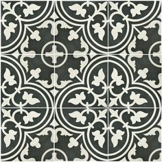 SomerTile 9.5x9.5-inch Art Black Porcelain Floor and Wall Tile (Case of 16) For fireplace replace red tile