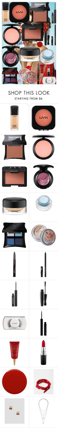 """Colorful Pin Up Makeup Tutorial"" by oroartye-1 on Polyvore featuring beauty, Retrò, MAC Cosmetics, Illamasqua, NARS Cosmetics, rms beauty, Jouer, Smashbox, MAKE UP FOR EVER and Smith & Cult"