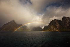 Hamnoy Rainbow by Christian Sperr on Norway, Waterfall, Landscapes, Rainbow, Christian, Outdoor, Paisajes, Rain Bow, Outdoors