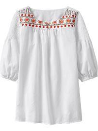 Girls Embroidered Smocked-Shoulder Tunics