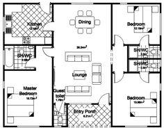 Floor Plans For 3 Bedroom Homes 3 Bedroom House Floor Plans Floor 3 Bedroom Bungalow Designs Modern Bungalow House Design, 4 Bedroom House Designs, 3 Bedroom Bungalow, Bungalow Designs, Design Bedroom, 3 Bedroom Floor Plan, Three Bedroom House Plan, Bungalow Floor Plans, House Floor Plans