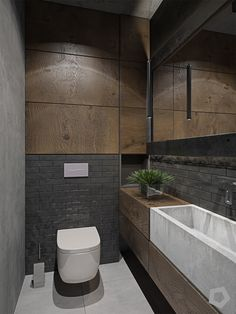 Three Homes Using Exposed Brick, Wood Panelling and Grey To Their Advantage Have an exposed brick wall? Make the most of it by pairing it with wooden panelling and grey fixtures. These three inspirational interiors show you how. Small Toilet Room, Small Bathroom, Bathroom Ideas, Toilet Wall, Kitchen Small, Modern Bathroom Design, Bathroom Interior Design, Washroom Design, Brick Bathroom