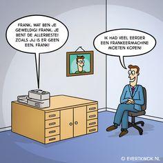 Frank is blij met zijn nieuwe aankoop. #cartoon