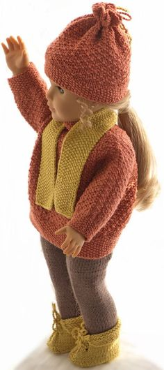 knitted dolls -knitting-patterns-for-american-girl-doll-sweater . Warm doll's clothing knitted in lovely fall colors American Girl Outfits, American Doll Clothes, American Girls, Knitting Dolls Clothes, Baby Doll Clothes, Doll Clothes Patterns, Knitted Doll Patterns, Knitted Dolls, Baby Knitting Patterns
