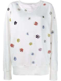 Faith Connexion floral embellished sweatshirt, Women's, Size: Medium, White, Cotton/Acrylic/Brass