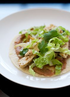 Coriander Chicken Tostadas with Refried Beans and Grilled Fennel # ...