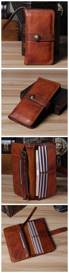Handmade Vintage Genuine Leather Long Wallet Purse Card Holder iPhone Case 14115 Overview: Design: Vintage Leather Men Long Wallet In Stock: Ready to Ship (2-4 days) Include: Only Wallet Custom: No Co