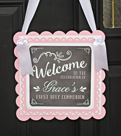 Items similar to First Communion Welcome Sign, Baptism, Religious Door Sign, Religious Party Decorations, Girl Baptism on Etsy First Holy Communion Cake, Première Communion, Communion Favors, First Communion Decorations, Girl Baptism Decorations, First Communion Invitations, Baptism Invitations, Balloon Decorations Party, Etsy