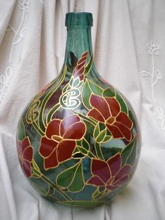 bottle by Olga Rodionova Diy Bottle, Wine Bottle Crafts, Bottle Art, Painted Wine Bottles, Bottles And Jars, Glass Bottles, Bottle Design, Glass Design, Faux Stained Glass