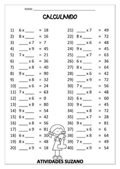 Color By Number Multiplication 3rd Grade Math Worksheets, 4th Grade Math, Grade 1, Math Sheets, Math Multiplication, Math Practices, Homeschool Math, Math For Kids, Math Lessons