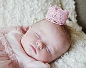 Small Pink Lace Crown, Princess Crown, Party Favor, Photo Prop, Flower Girl, Cake Topper